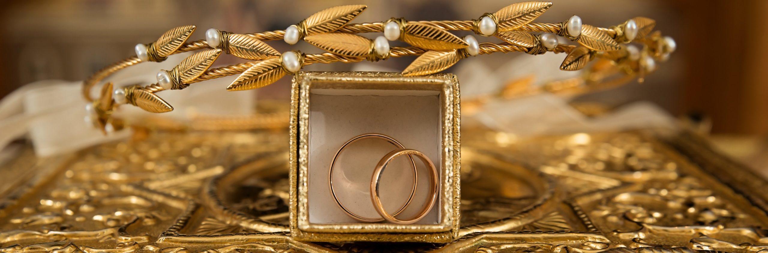 gold rings in frame